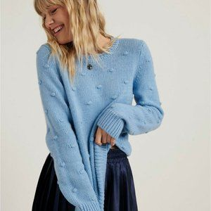 Lucky Brand Blue Bobble Crew Neck Chunky Sweater